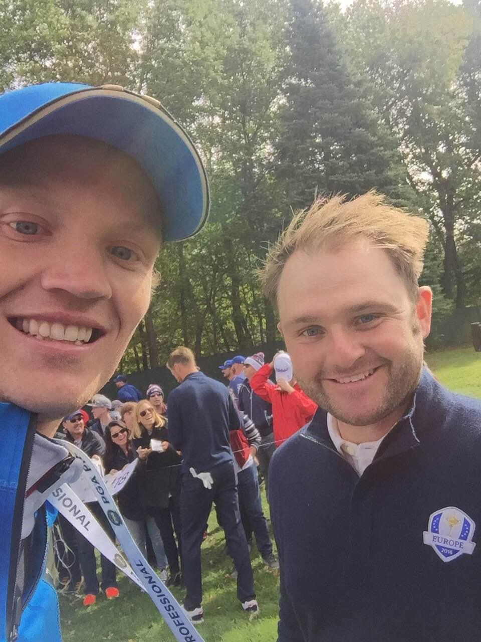 Johan (left) following Andy Sullivan.